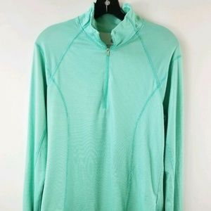 Old Navy Semi Fitted LG Teal Green Striped Top